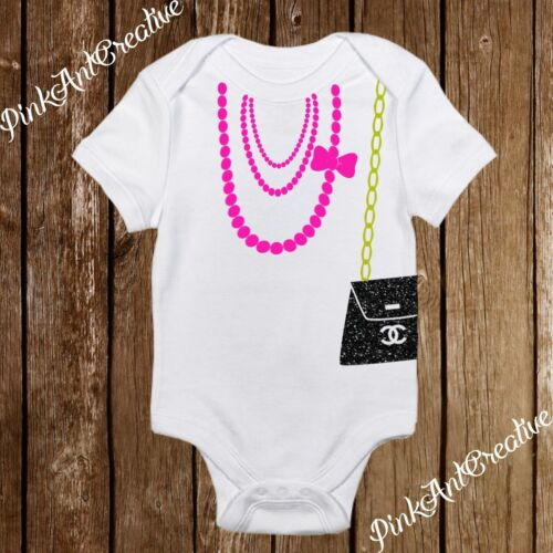 Baby Girl Pearl Necklace Sparkle Purse Onesies 6 COLORS Clothes Infant Designer
