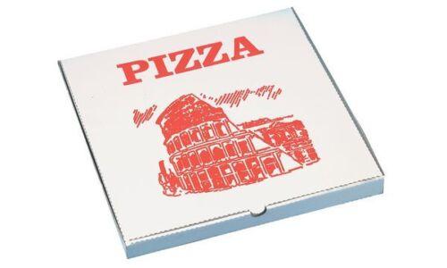weiß//rot PAPSTAR Pizzakarton eckig 330 x 330 x 30 mm