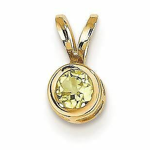 14K Yellow Gold 4 MM Peridot Solitaire Bezel Charm Pendant MSRP $99