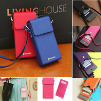 Luxury Shoulder Bag PU Leather Card Wallet With Strap Case Cover For Cell Phones