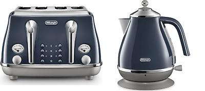 DELONGHI ICONA KBOC3001BL Jug Kettle BLUE CTOC4003BL 4 Slice Toaster Set BLUE