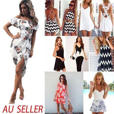 Fashion Womens Summer Boho Floral Beach Dress Evening