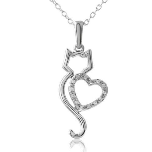 Animal Chat Pendentif Strass Cristal//Chaîne en Cuir Femmes Collier Cadeau Bijoux