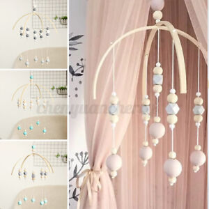 Wooden-Beads-Baby-Crib-Mobile-Bed-Bell-Arm-Bracket-Wind-up-Nordic-Style-Toy