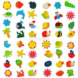 12Pcs/Pack Baby Kids Wooden Cartoon Animal Fridge Magnet Child Educational Toys