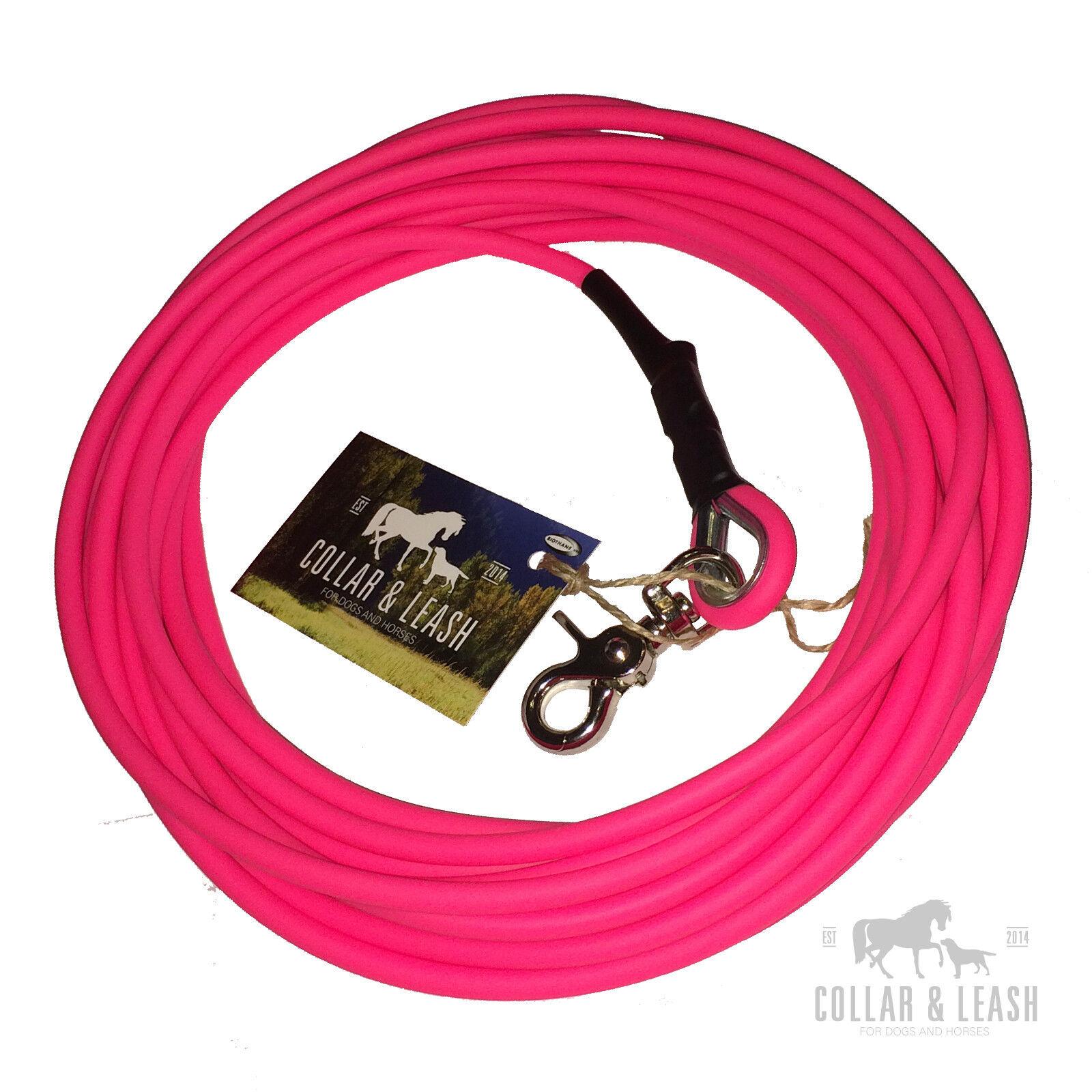 NUOVO  BioThane cani guinzaglio Guinzaglio concentrandola Guinzaglio dragline 15m TONDO 6mm Neon-rosa