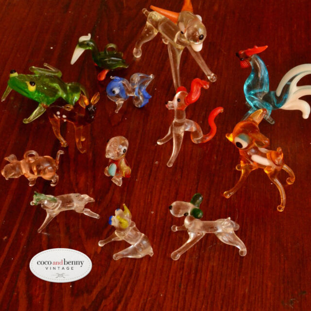Vintage 70's Collection of Miniature 13 Hand Blown GLASS ANIMALS All Perfect