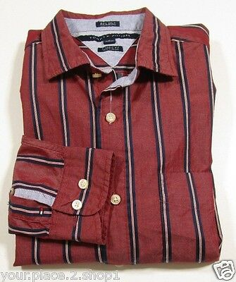 Tommy Hilfiger Mens L/S Classic Fit Red Stripe Casual Button Front Shirt Size M