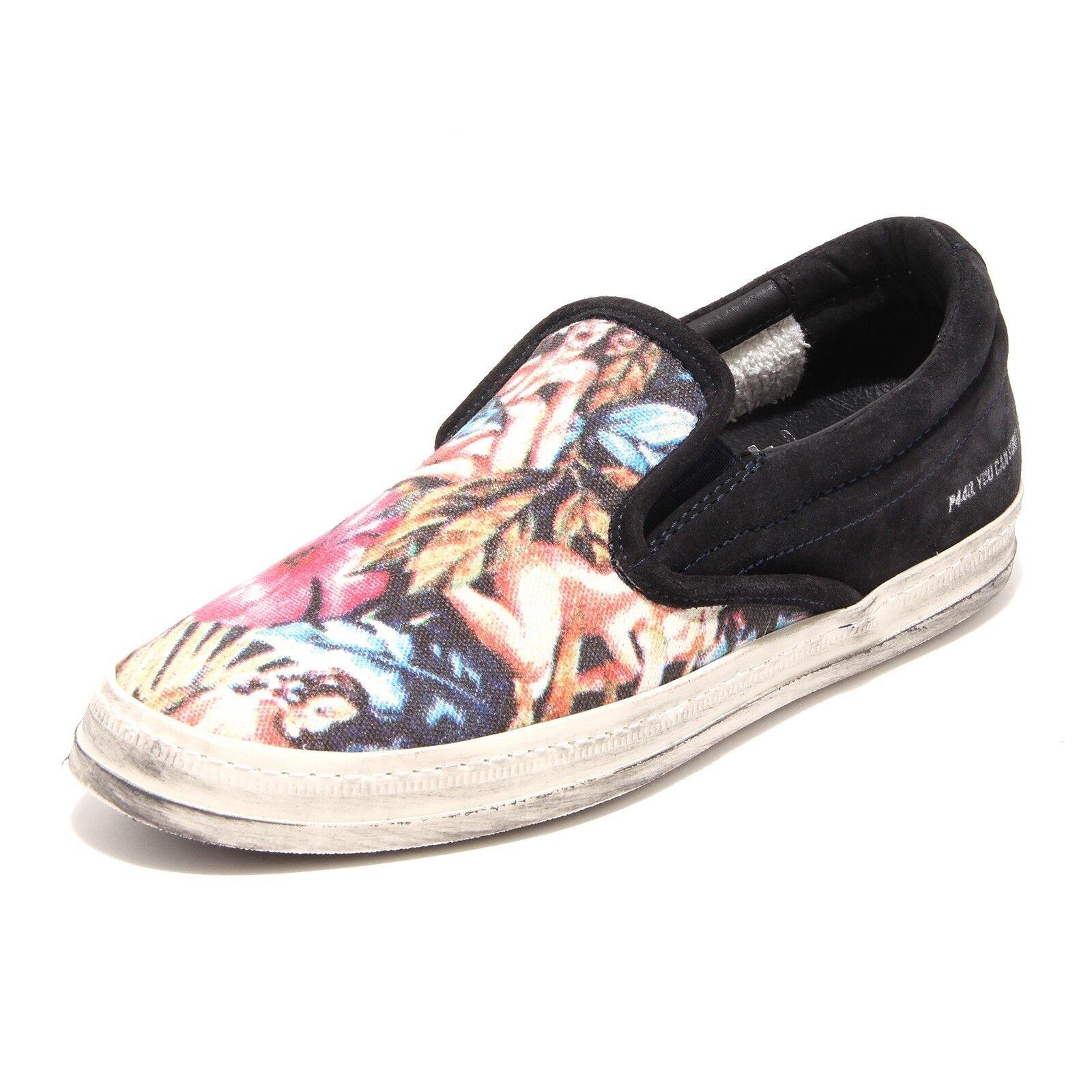 9864G slippers sneakers uomo blu P448 e 4 slip on scarpe scarpa shoes men