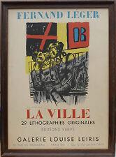 FERNAND LEGER  AFFICHE LITHO - GALERIE LEIRIS - LA VILLE - MOURLOT PARIS