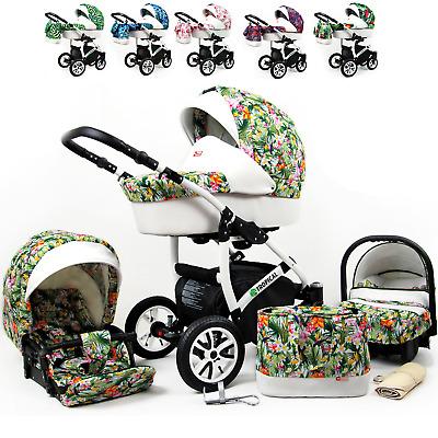 Kinderwagen Tropical Set Wanne Buggy Babyschale Autositz Toucans Tropics 3in1