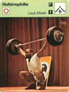 FICHE-CARD-Sport-Sportif-Halterophilie-Louis-Martin-Medaille-d-039-Or-70s