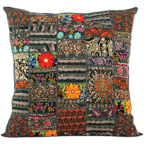 Black Bohemian Pillow 24x24 Indian Patchwork Pillow Cover Indian Cushion Cover
