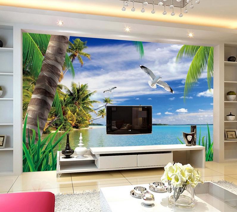 3D Möwe Baum Ozean 742 Tapete Wandgemälde Tapete Tapeten Bild Familie DE Summer