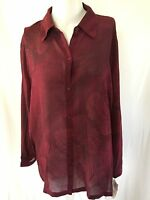 Maggie Mcnaughton Blouse Size 2x Sheer Button Front Red Print Long Sleeve