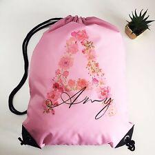 Personalised Kids PINK Floral Initial Drawstring Swimming, School, PE Bag