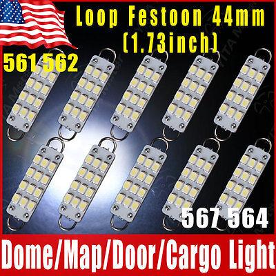 """10x Super White Festoon 44mm 12-SMD Rigid Loop 1.73"""" LED Light Bulbs 561 562 567"""
