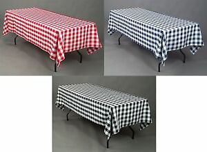 "5 Checkered Polyester Tablecloths 60""×126"" Rectangular Restaurant Catering Event"
