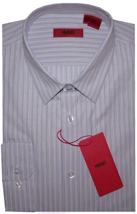 NEW HUGO BOSS ROT LABEL SFT LILAC & Weiß STRIPE SLIM FIT DRESS SHIRT 16 32/33