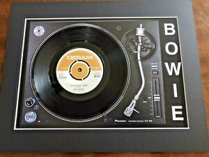 """David Bowie -The laughing Gnome-Genuine 7"""" Single Mounted on Record Player Print"""
