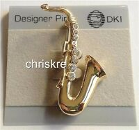 Gold Plated Crystal Saxophone Pin Brooch Jazz Sax Music Musician Graduation Gift