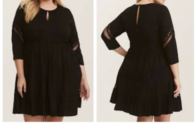 dc038a9110e97 Torrid Black Lace Inset Challis Skater Dress 3X 22 24  64798