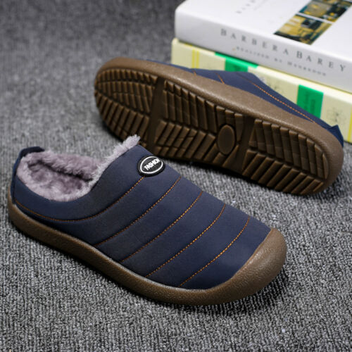 Men Cotton House Slippers Warm Fur Lined Slip on Shoes Winter For Outdoor Indoor