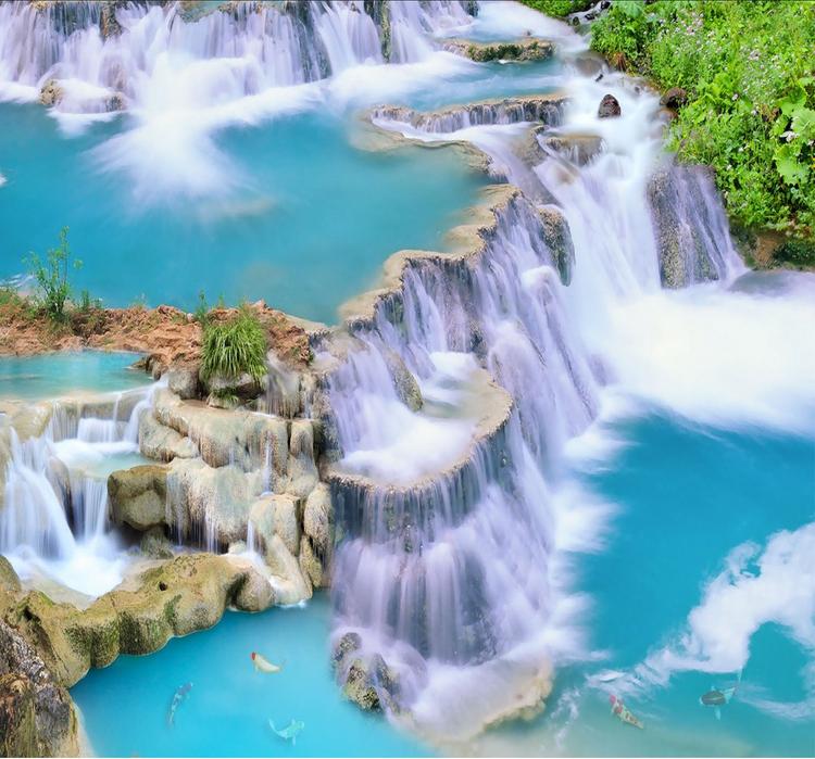 3D Wasserfall 422 Fototapeten Wandbild Fototapete Tapete Familie DE Lemon