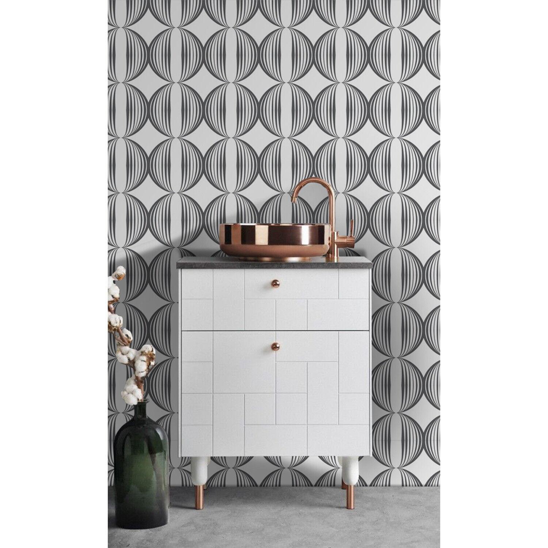 Minimalistic circles pattern retro funky geometric fabric Non-Woven wallpaper