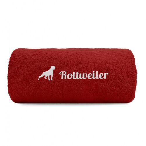 Rottweiler Handtuch Pfoten Hundemotiv Stickerei Deluxe