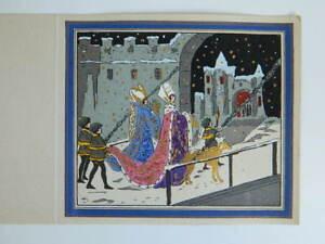 carte-Voeux-nuit-de-Noel-Gravure-ancienne-coloriee-au-pochoir-c-1930