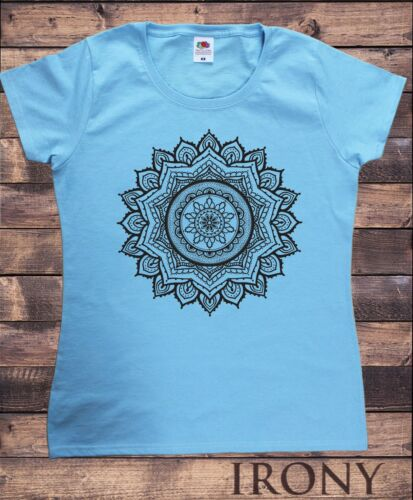 Women/'s T-Shirt  Ethnic Mandala Circle line Art Graphics Print TS1545