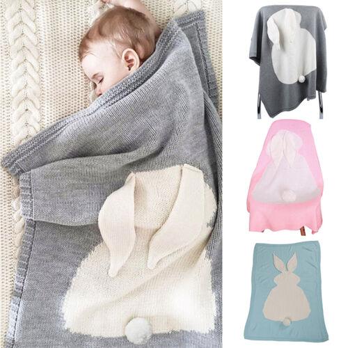 Baby Tier Hase Decke Gestrickt Strickdecke Schlafendecke Kuscheldecke Bettwäsche