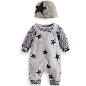 ea4b9b131 Toddler Newborn Kids Baby Boy Warm Romper Outfits Hat+Jumpsuit ...