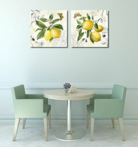 Linen Lemons II Keilrahmen-Bild Leinwand Zitronen Obst Küche Landhaus gelb Nan