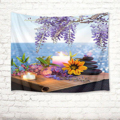 Spa Zen Stone Orchid Bamboo Tapestry Wall Hanging Living Room Bedroom Dorm Decor