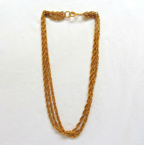 203fe257f Image is loading Authentic-Chanel-France-Triple-Strand-18k-Gold-Plated-