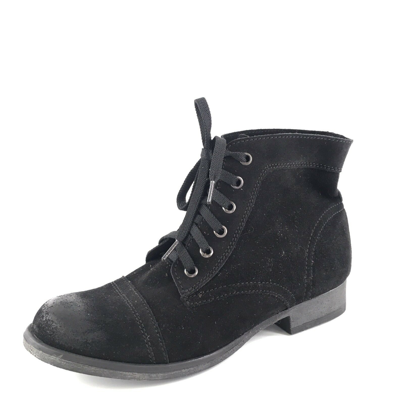 New Zigi Girl Fleet Black Distressed Leather Ankle Boots Women's Size 8 M