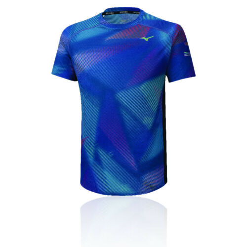 Blue Sports Running Gym Breathable Mizuno Mens Aero Graphic T Shirt Tee Top