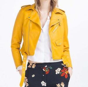 Mustard-Faux-Leather-Motorcycle-Cropped-Biker-Short-spring-jackets-coat-outwear