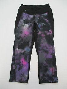 LUCY-ACTIVEWEAR-SHA1202-Women-039-s-Size-XS-Tie-Dye-Black-Yoga-Legging-Capri-Pants