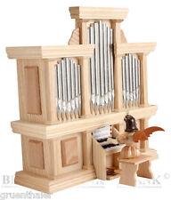 Kurzrock-Engel an der Orgel mit Spielwerk natur Blank Erzgebirge Kurzrockengel