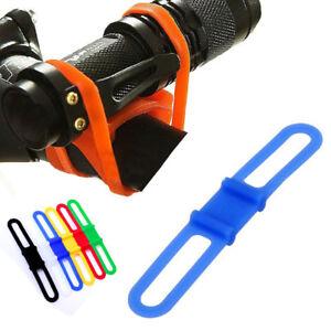 Bike Silicone Band Flashlight Elastic Strap Flash Light Tie Ribbon Mount Holder