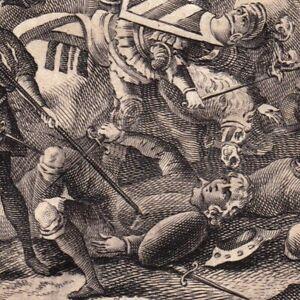 Gravure-XVIIIe-Bataille-De-Nancy-1477-Duc-Bourgogne-Charles-le-Temeraire-Rene-II