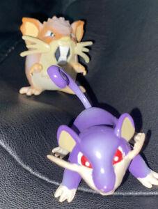 "Pokemon 1998 TOMY Monster Figures 1-2"" Rattala Raticate CGTSJ gen 1 japan Mint"