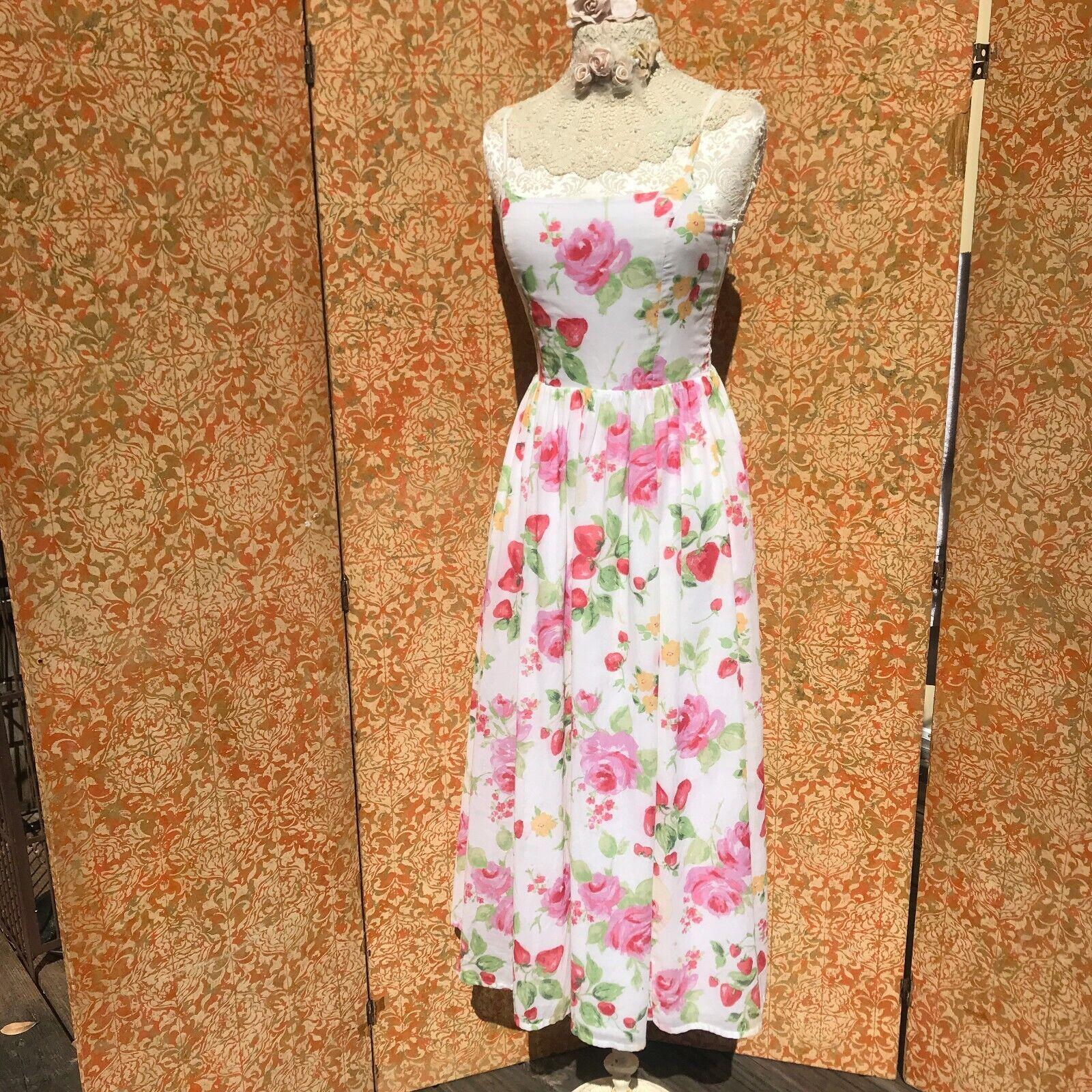 Vintage 90s Laura Ashley Strawberry Rose Dress S … - image 1