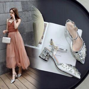 Women-Ladies-Fashion-Glitter-Diamante-Ankle-Strap-Block-Heel-Slingback-Shoes-SKG