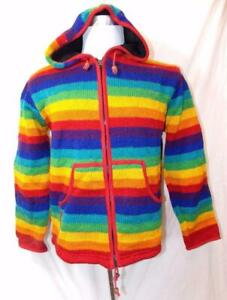 Rainbow jas wollen Fair Festival Trade Gringo Hippy gevoerd Maat M Fleece Boho TatqxwYEY