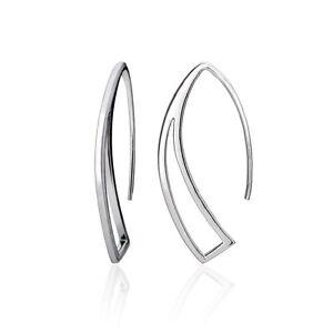 Sterling Silver Geometric Polished Hook Earrings, 3 Colors