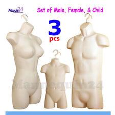 Male Female Amp Child Torso Dress Form Mannequin Set Flesh With 3 Hangers